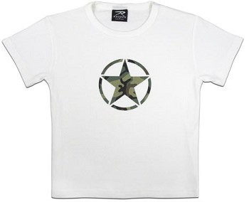 Girl's White T-shirt with Camo Star
