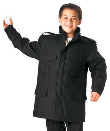 Kids Black M-65 Lined Military Field Jacket