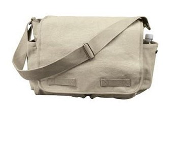 Vintage Khaki Messenger Bag