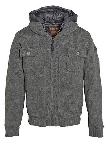 Schott Wool Blend Hooded Sweater Jacket