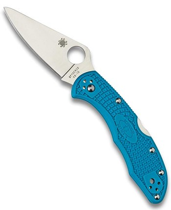 Spyderco Delica 4 Blue Plain Edge Pocket Knife - C11FPBLM