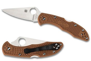 Spyderco Delica 4 Brown Folding Pocket Knife - C11FPBLM