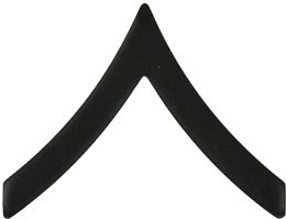 Black Metal Rank Private E-2 Army Insignia