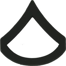 Black Metal Rank Private First Class E-3 Army Insignia
