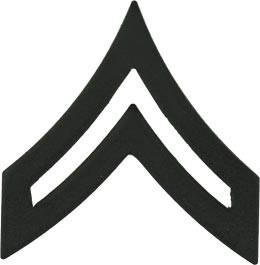 Black Metal Rank Corporal E-4 Army Insignia