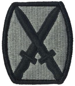 10th Infantry Division ACU Patch with Fastener Army Patch