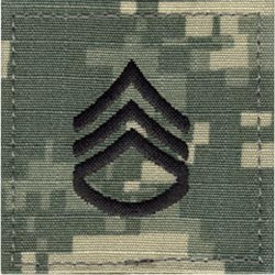 ACU Rank Staff Sergeant E-6 with Fastener Army Patch