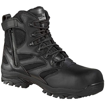 Thorogood 6-inch Waterproof Side Zip Composite Safety Toe Black Uniform Boots - 804-6190