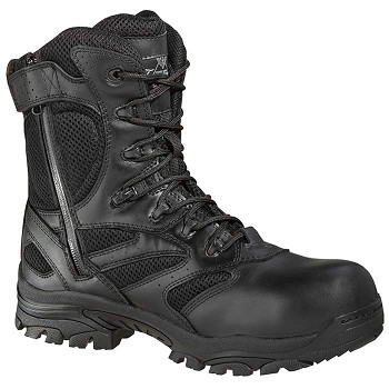 Thorogood Deuce 8-inch Waterproof Side Zip Composite Safety Toe Black Uniform Boots - 804-6191