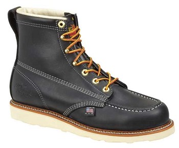 Thorogood 6-inch Black Moc Toe Wedge Sole Work Boots - 814-6201