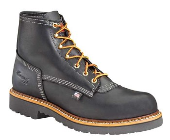 Thorogood 6-inch Black Leather Plain Toe Work Boots - 814-6376