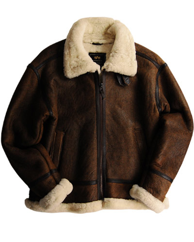 Alpha B 3 Sherpa Lined Leather Bomber Jacket