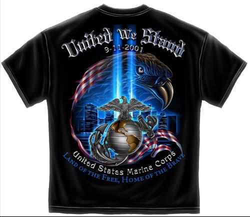 United We Stand 9 11 Commemorative Marine Corps T Shirt