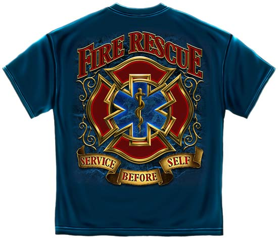 Service Before Self Blue Fire Rescue T Shirt