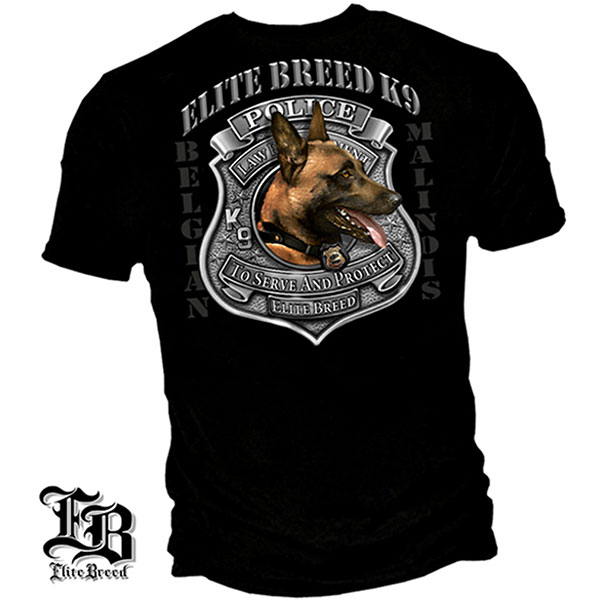 Elite Breed Belgian Malinois K9 Unit Police T Shirt Black