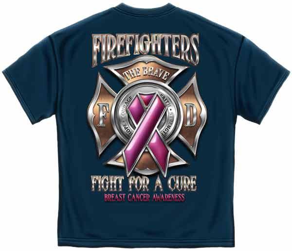 Firefighter Breast Cancer Awareness Blue Short Sleeve T Shirt