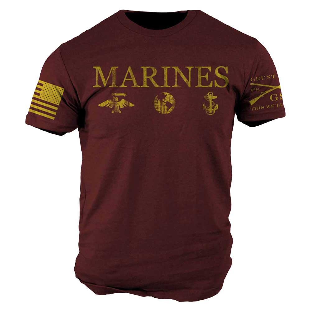 Grunt Style Scarlet and Gold Vintage USMC Military T-Shirt