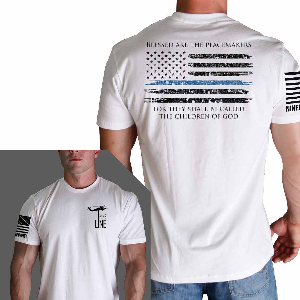 Thin Blue Line American Flag >> Thin Blue Line Flag Police T-Shirt by Nine Line