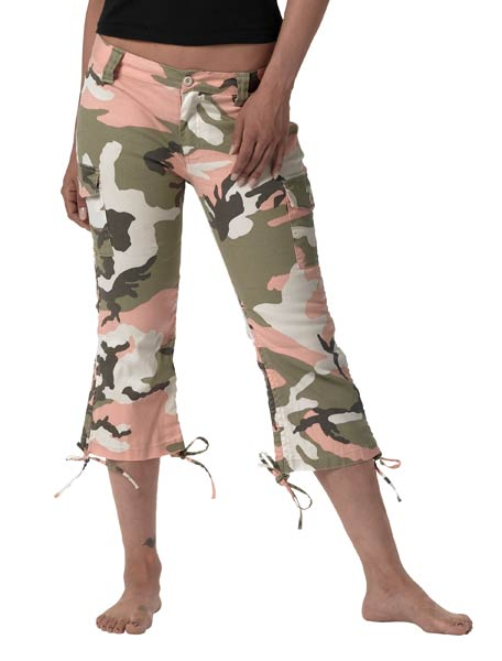 Womens Pink Camo Capri Pants Ladies Military Clothing