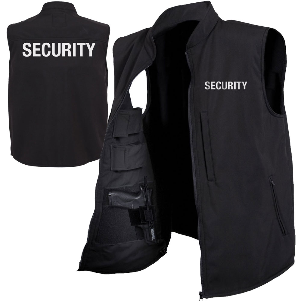 Black Security Print Concealed Carry Softshell Vest