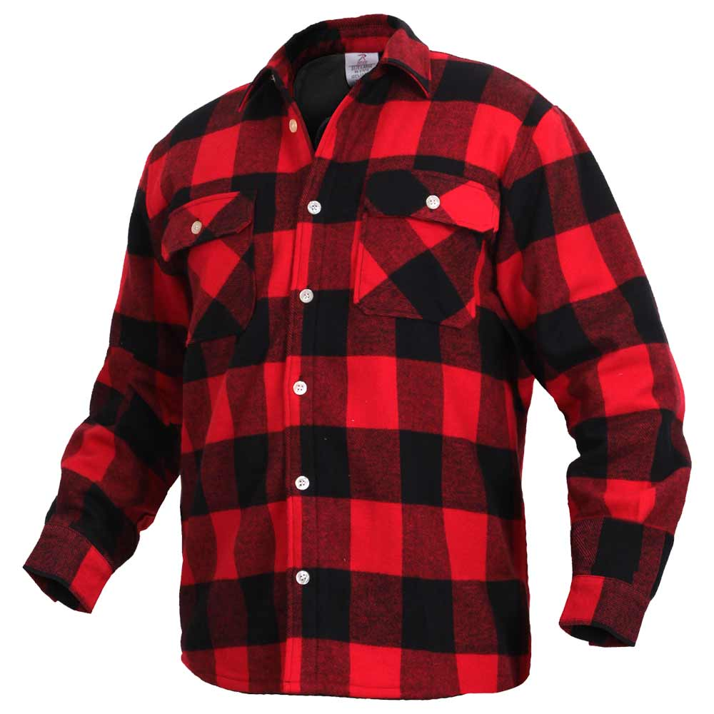 men 39 s red buffalo plaid fleece lined flannel shirt