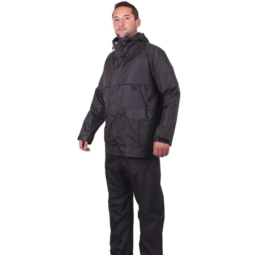 Black Packable Ripstop 2 Piece Rain Suit