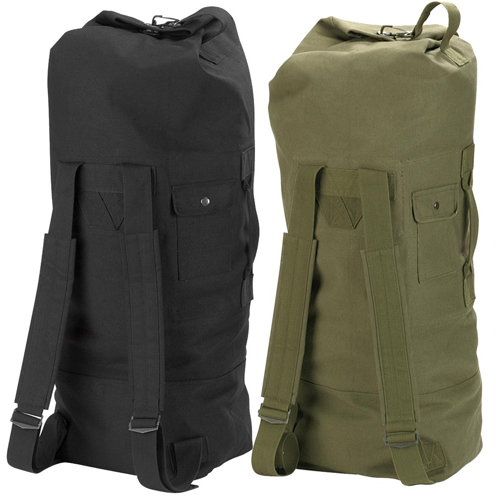military duffle bag double strap backpack canvas olive drab rothco 3486