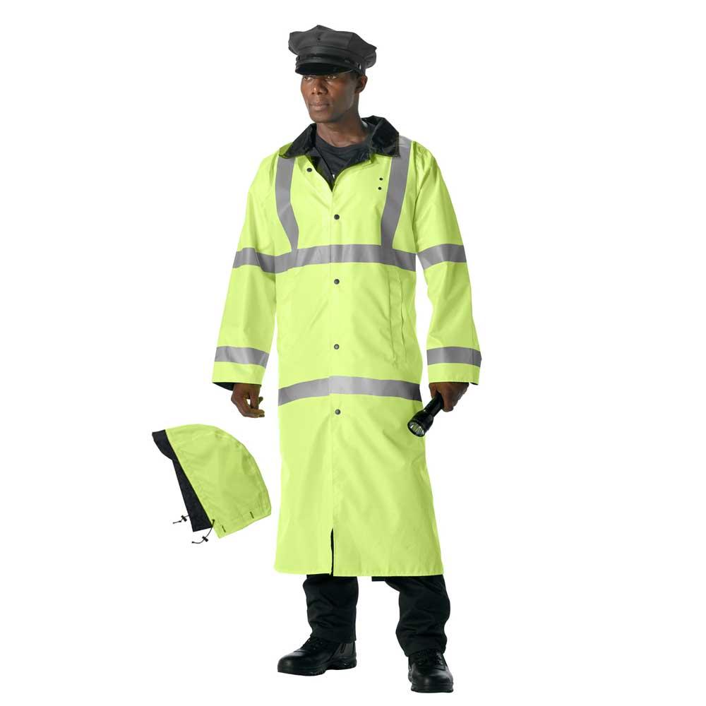High Visibility Reversible Long Police Rain Coat