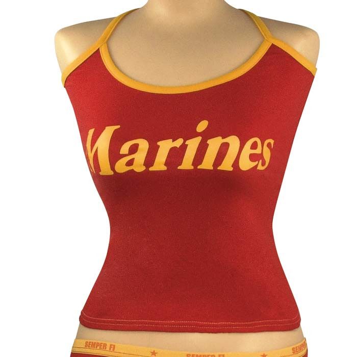 Red And Gold Womens Marines Tank Top Womens Military