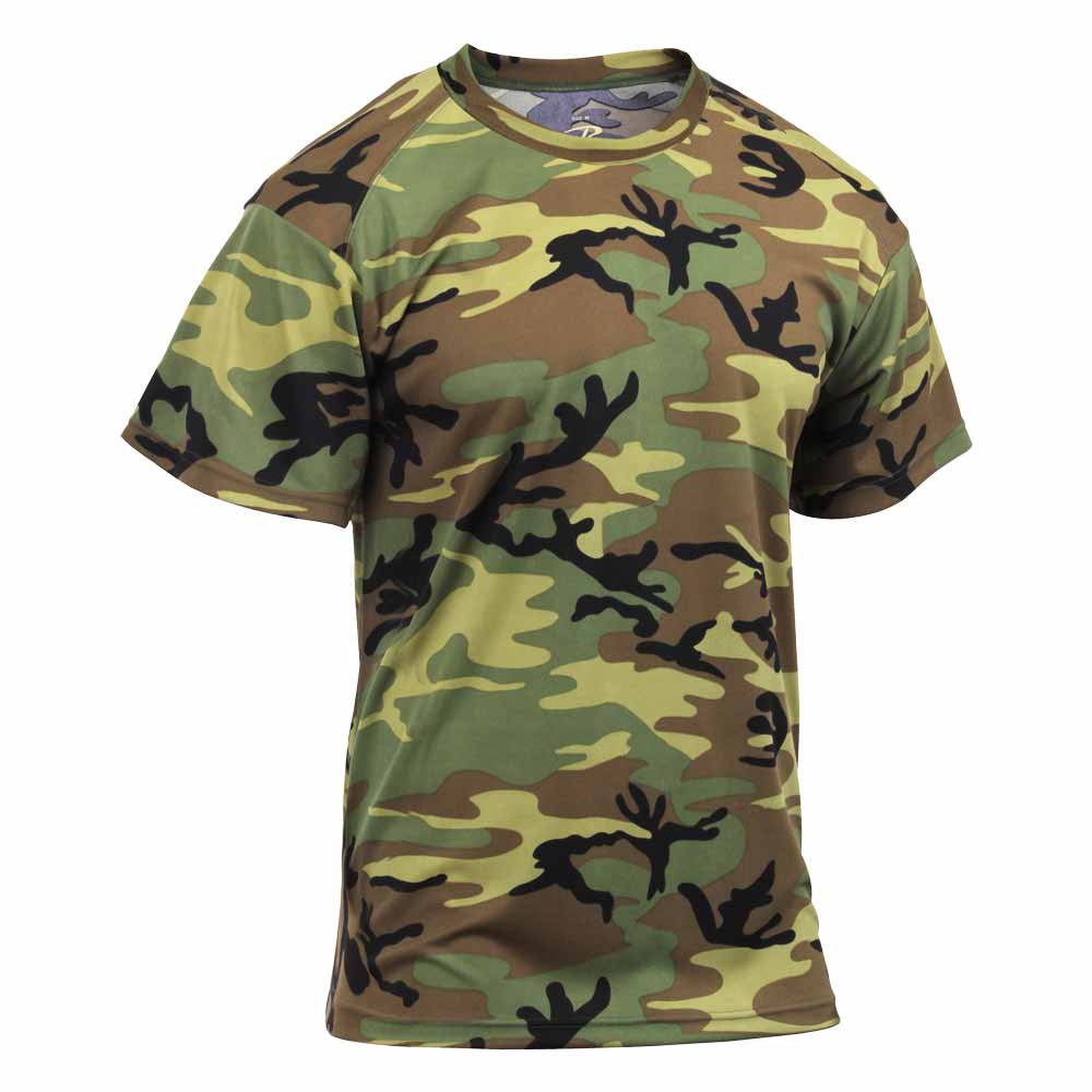 Woodland Camouflage Polyester Performance T Shirt