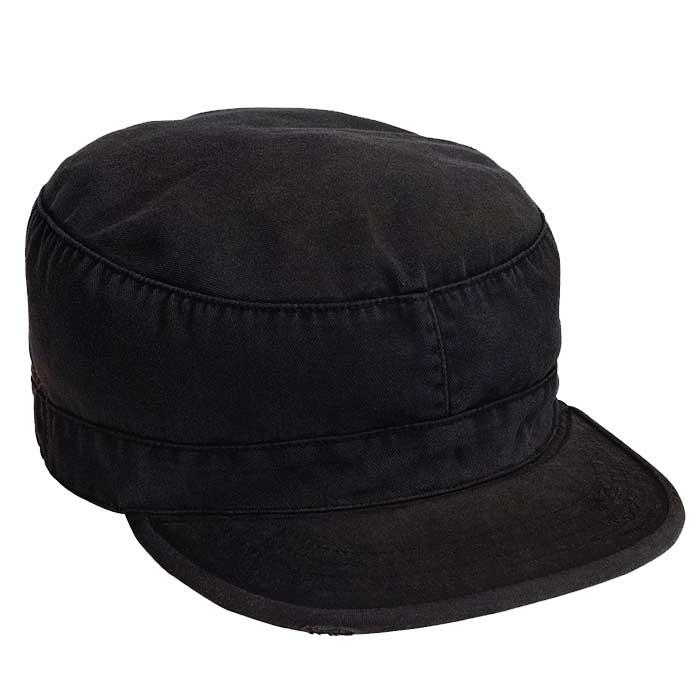 af36a0366bc Black Vintage Patrol Cap - Vintage Military Hats