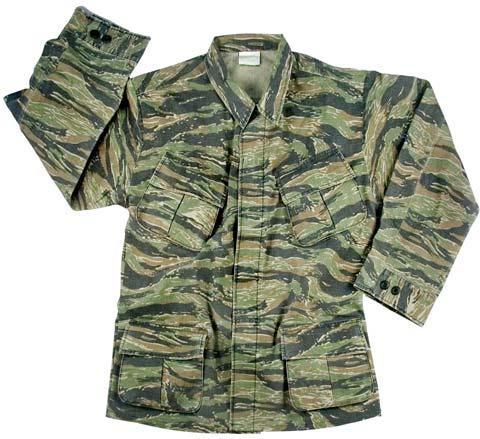 Vintage Vietnam Era Tiger Stripe Military Shirt Military