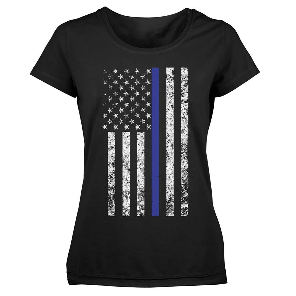 Women 39 S Thin Blue Line American Flag Police T Shirt
