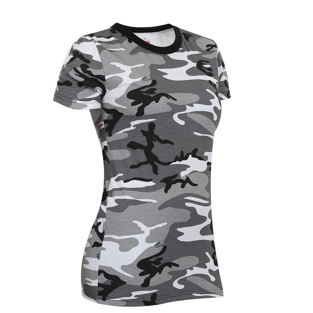 e926b1a0 Women's Black and White Camo Longline T-Shirt