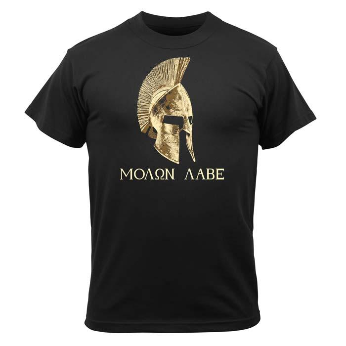 Men S Black Molon Labe Greek Military T Shirt