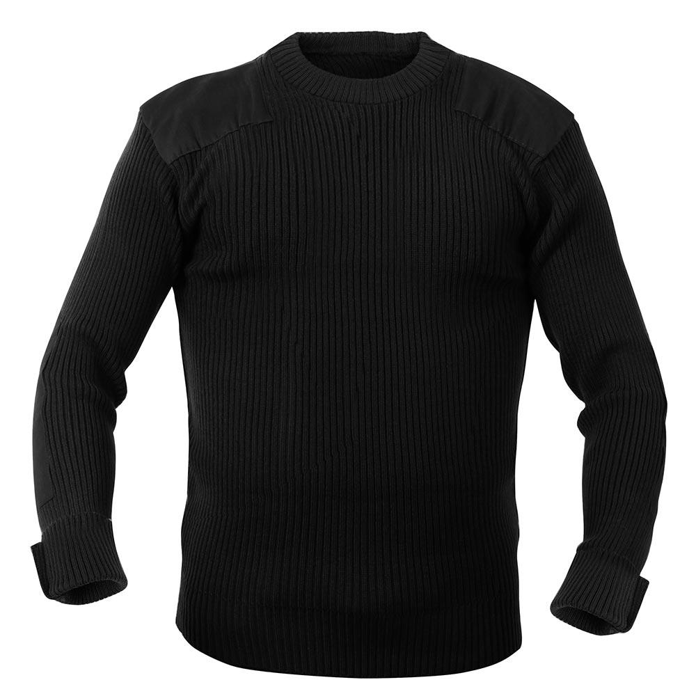 Black Acrylic Crew Neck Commando Sweater