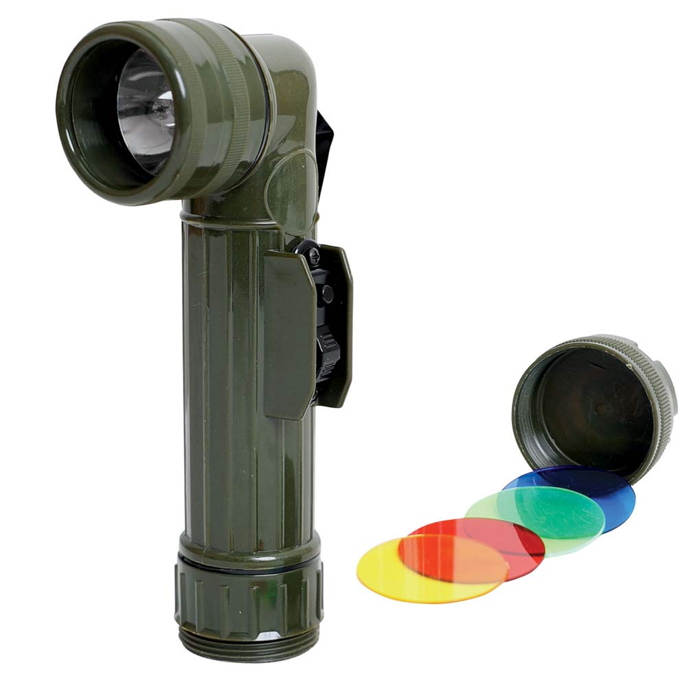 Angle Head Combat Flashlight Tactical Plastic D-Cell Battery with 4 Color Lenses
