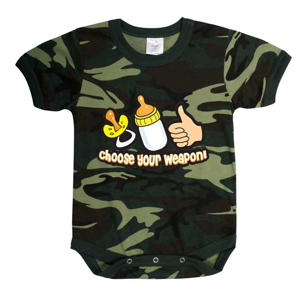 Woodland Camo 'Choose Your Weapon' Baby Onsie