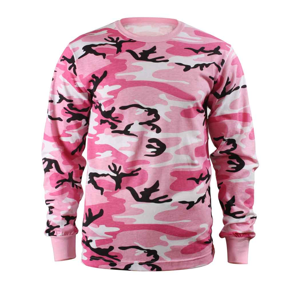 Kids Pink Camo Long Sleeve T Shirt
