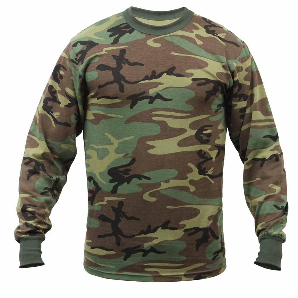 Men S Long Sleeve Woodland Camo T Shirt