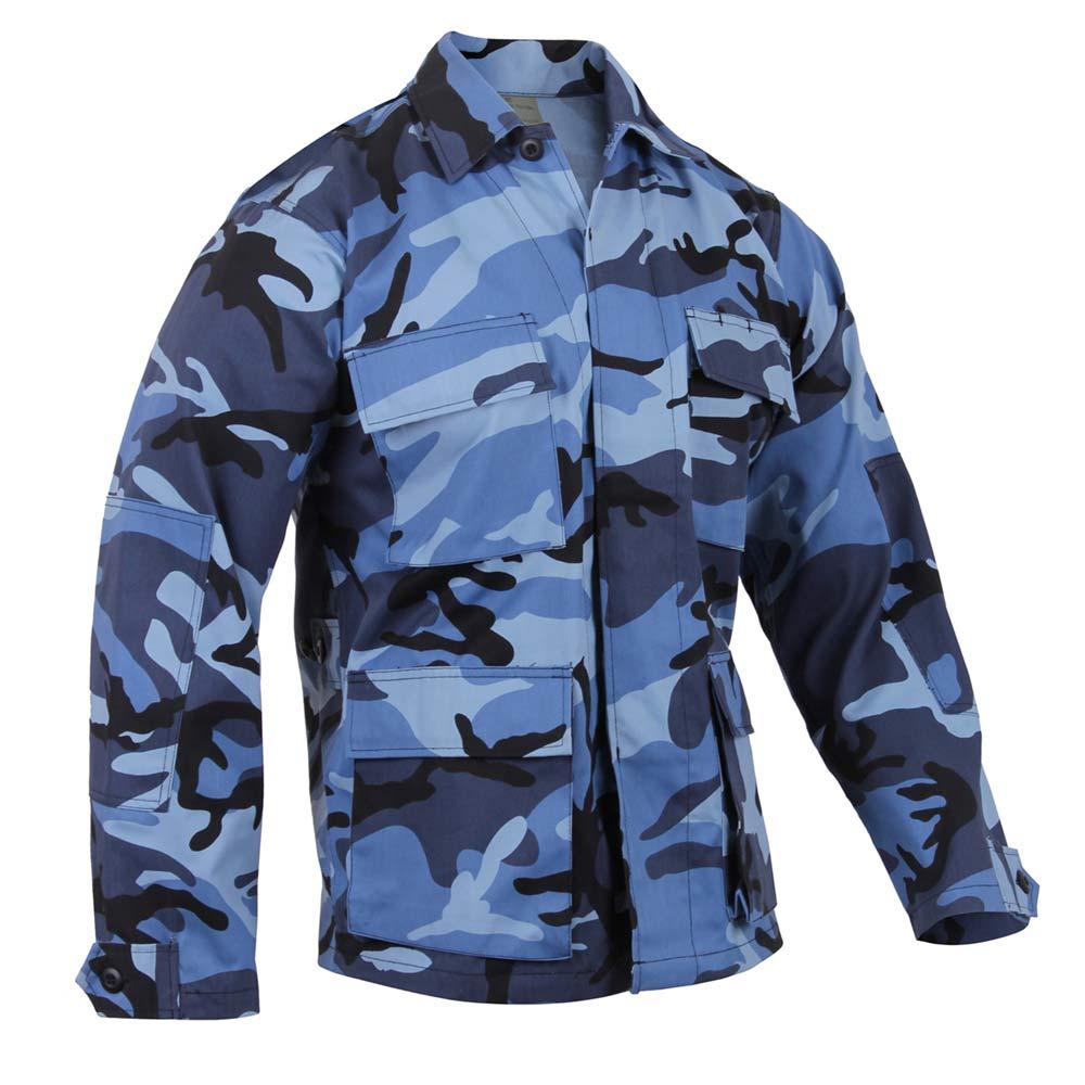 Battle dress uniform shirt Sky Blue camouflage 4 poches boutonné Poly Coton Taille XLarge