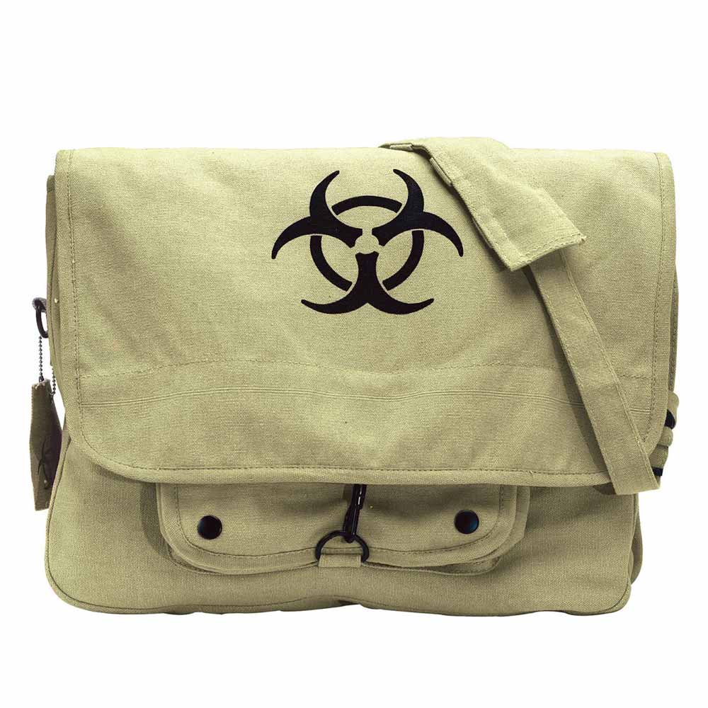 Biohazard Symbol Canvas Military Backpack Travel School Book Bag
