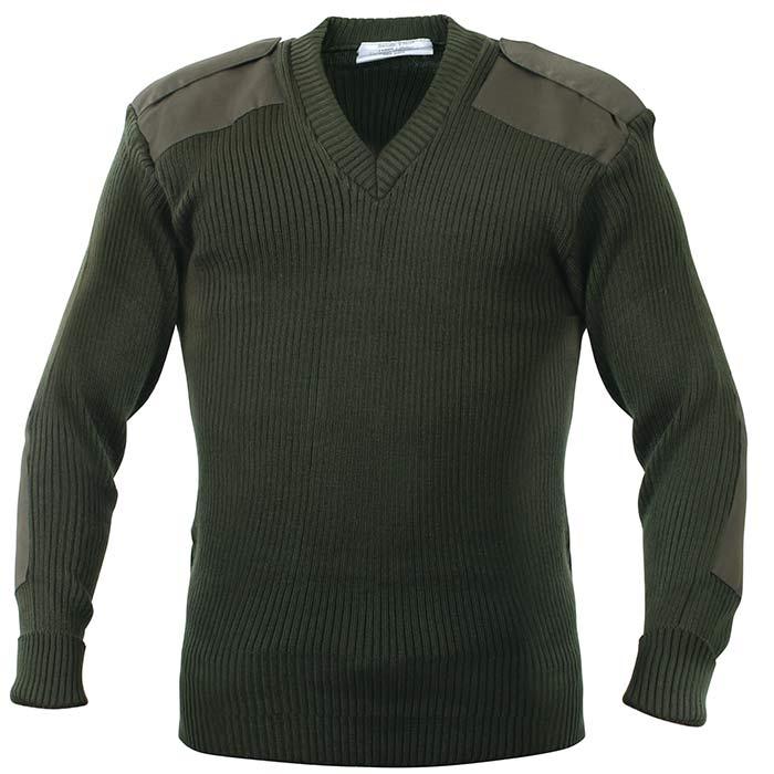 Olive Drab Acrylic V Neck Commando Sweater