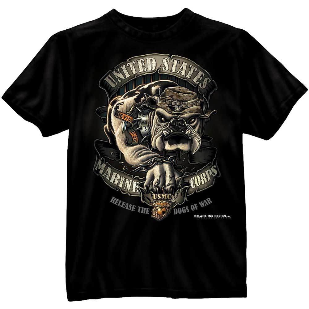 black ink usmc bulldog t shirt military marines t shirts. Black Bedroom Furniture Sets. Home Design Ideas