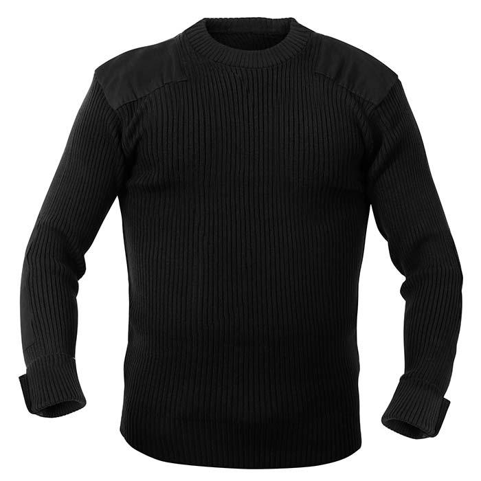Black Wool Military Style Commando Sweater