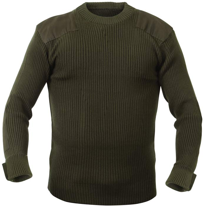 Olive Drab Wool Military Style Commando Sweater