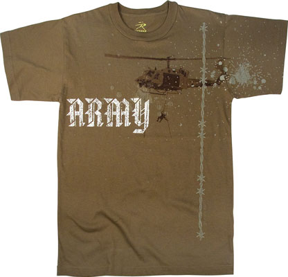 Vintage Brown Army Helicopter T Shirt