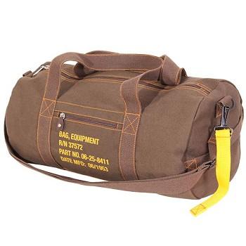 b4c83c759a9 Vintage Military Brown Canvas Duffel Bag