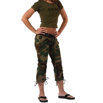 502fbcc126cc3 Womens Woodland Camo Capri Pants - Ladies Military Clothing