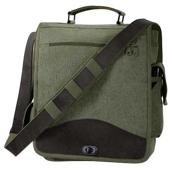 Olive Drab Vintage M 51 Engineer Messenger Bag With Leather Trim